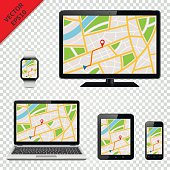 Computer monitor, laptop, tablet pc, mobile phone and smart watch with GPS map on screen. Isolated on transparent background. Navigation template. Vector EPS10.