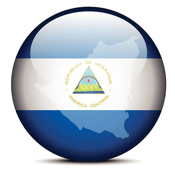 karte auf die schaltfläche-flagge der republik nicaragua - managua stock-grafiken, -clipart, -cartoons und -symbole