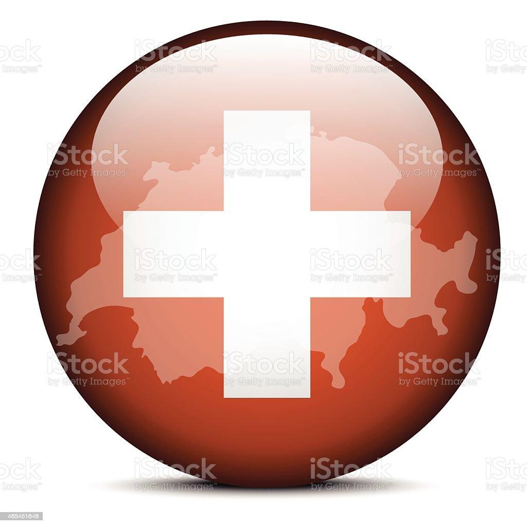 Map on flag button of Switzerland, Swiss Confederation vector art illustration