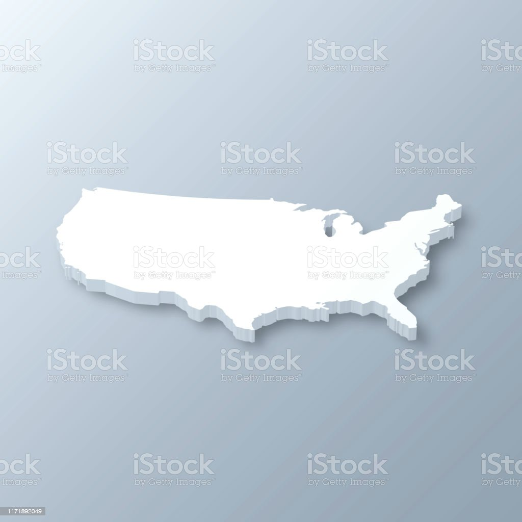 USA 3D Map on gray background - Royalty-free Abstract stock vector