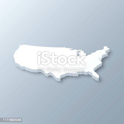 3D map of USA isolated on a blank and gray background, with a dropshadow. Vector Illustration (EPS10, well layered and grouped). Easy to edit, manipulate, resize or colorize.