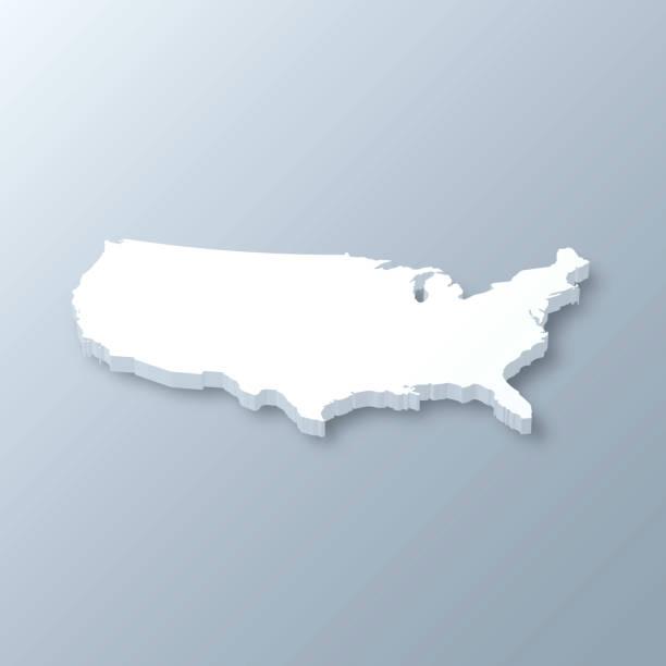 회색 배경에 미국 3d지도 - 미국 stock illustrations