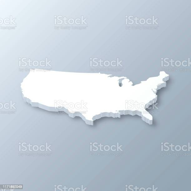 Usa 3d Map On Gray Background Stock Illustration - Download Image Now