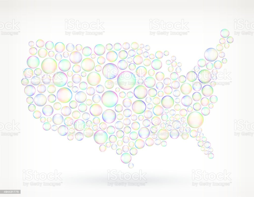 Usa Map On Soap Bubbles Royalty Free Vector Icon Set Stock Vector ...