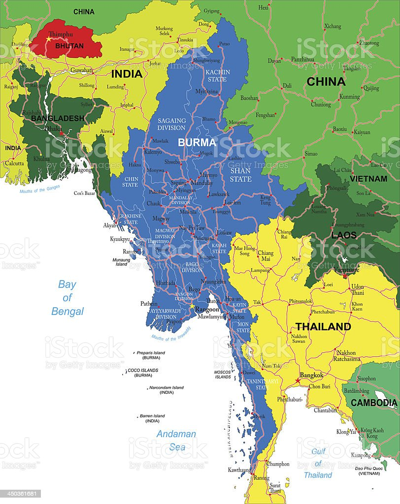 A map or Burma and the adjacent countries vector art illustration