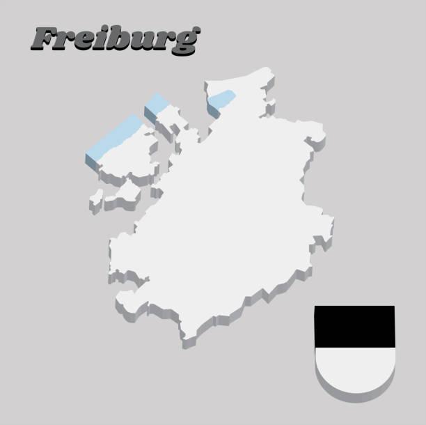 3d-landkarte umrisse und wappen von freiburg, kanton der schweiz. - schwarzwald stock-grafiken, -clipart, -cartoons und -symbole