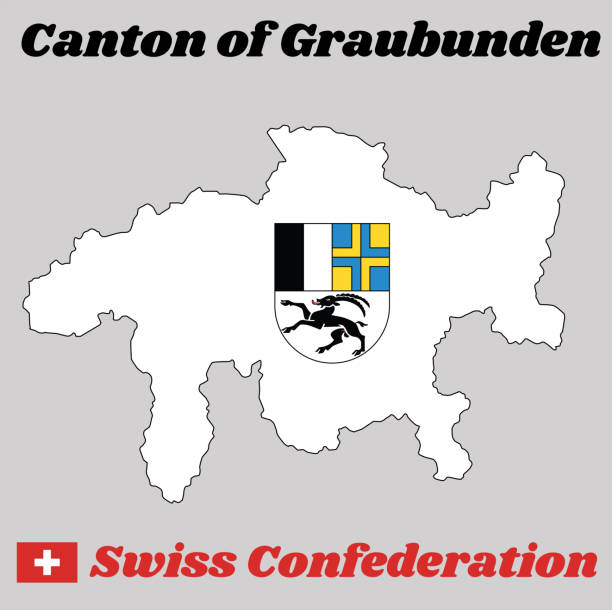 Map Outline And Coat Of Arms Graubunden The Canton Switzerland With Name Text