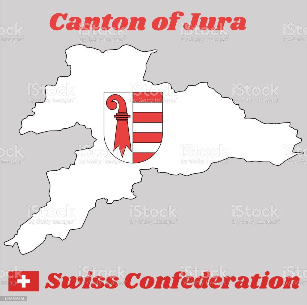 Contour De La Carte Et Des Armoiries Du Jura Le Canton De La Suisse
