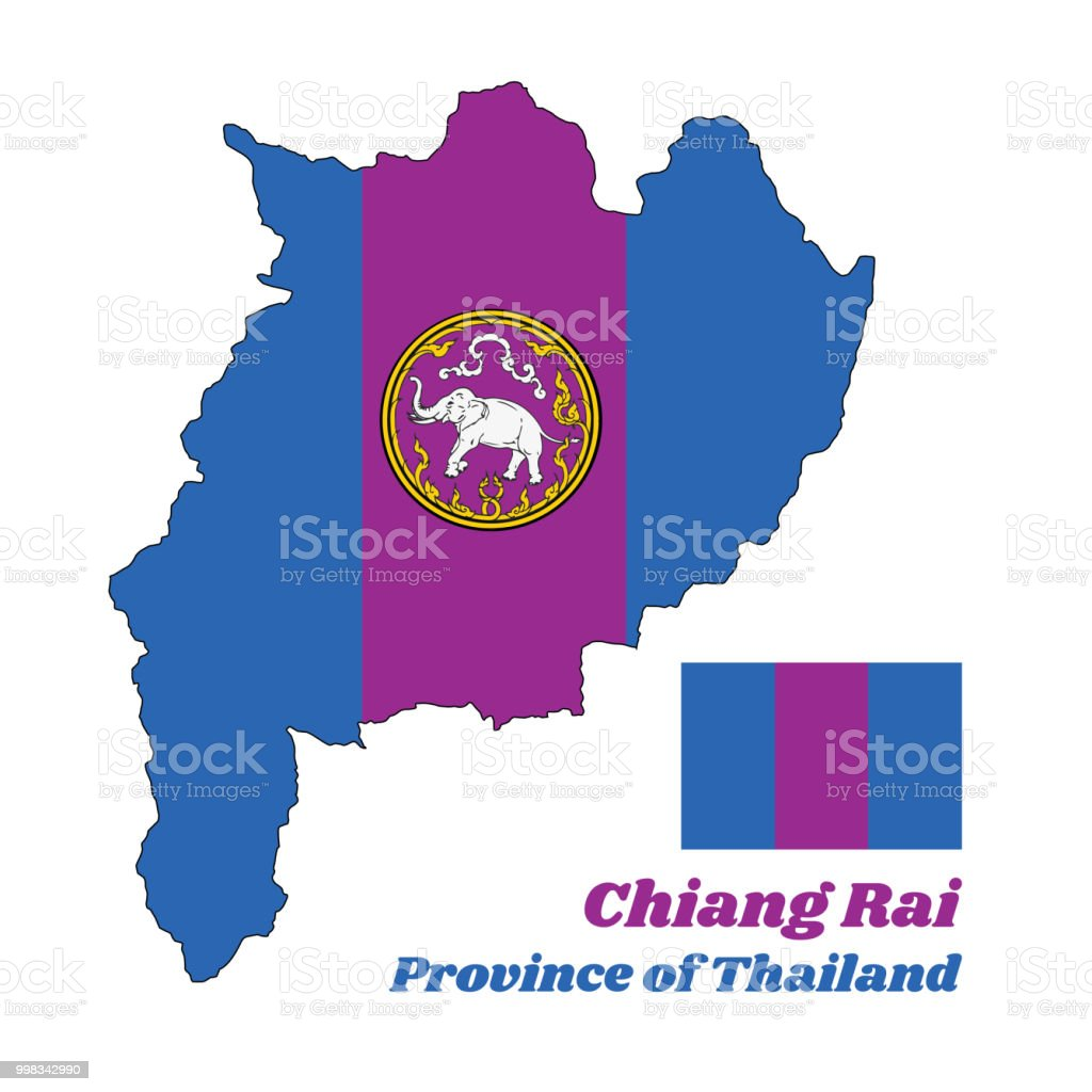 Map Outline And Corporate Color Of Chiang Rai Province Of Thailand