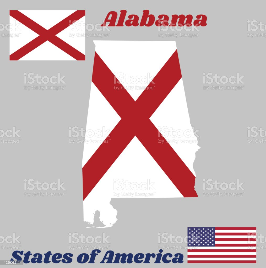 Map Outline And Flag Of Alabama The States Of America Red St Andrews