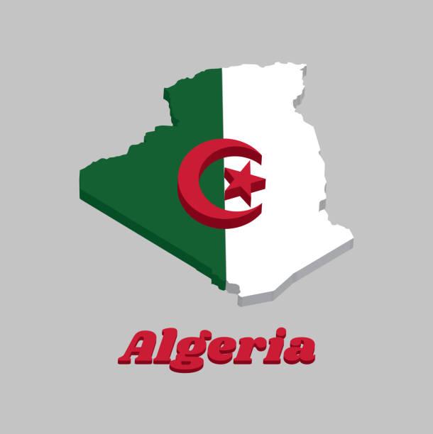 3d 地圖輪廓和阿爾及利亞的旗幟, 它是由兩個相等的分隔號, 綠色和白色, 充電在中心與紅星和新月。 - 阿爾及利亞 幅插畫檔、美工圖案、卡通及圖標
