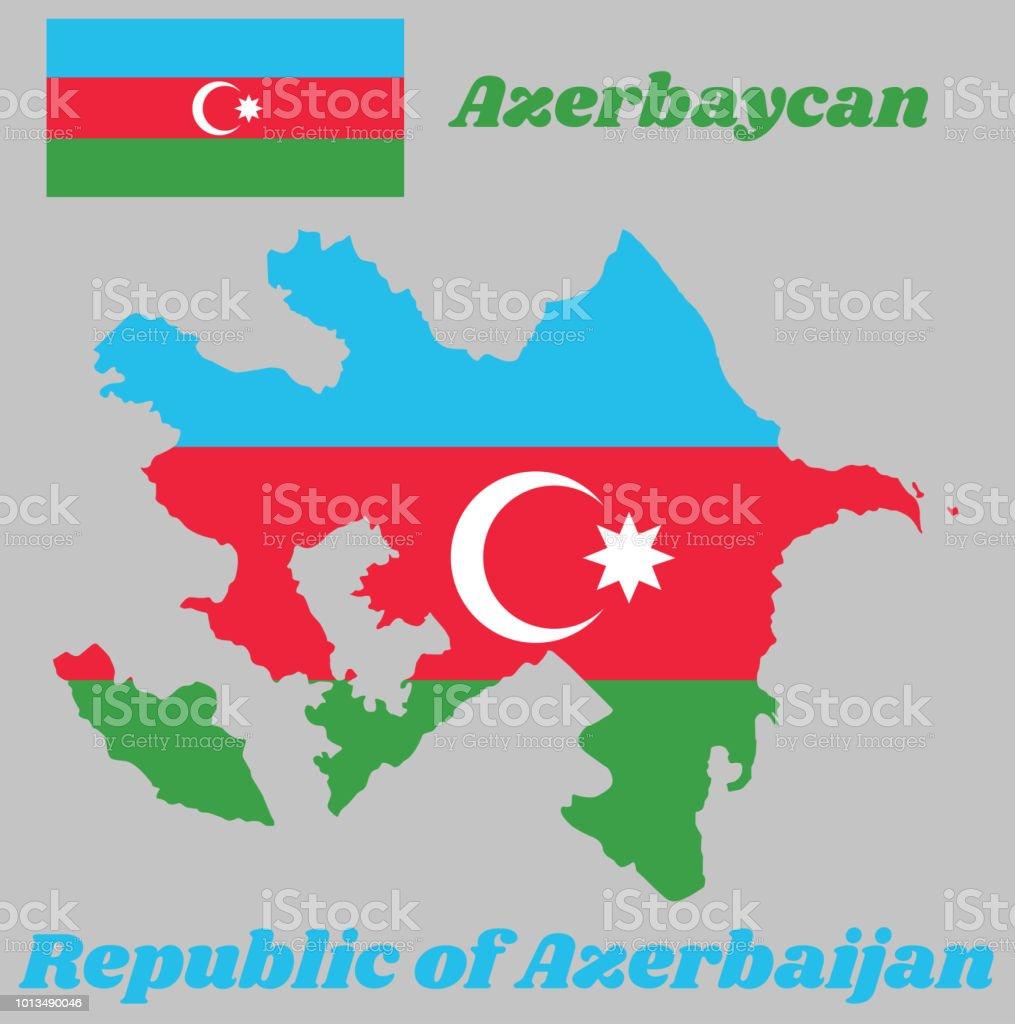 Karte Ubersicht Und Flagge Von Aserbaidschan Eine Horizontale Trikolore Von Blau Rot Und Grun Mit Einem Weissen Halbmond Und Einem Achtzackigen Stern Zentriert Auf Einem Roten Band Stock Vektor Art Und Mehr