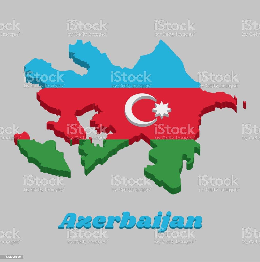 3dlandkarte Umriss Und Flagge Von Aserbaidschan Eine Horizontale Trikolore Aus Blau Rot Und Grun Mit Einem Weissen Halbmond Und Einem Achtspitzen Stern Auf Einem Roten Band Zentriert Stock Vektor Art Und Mehr