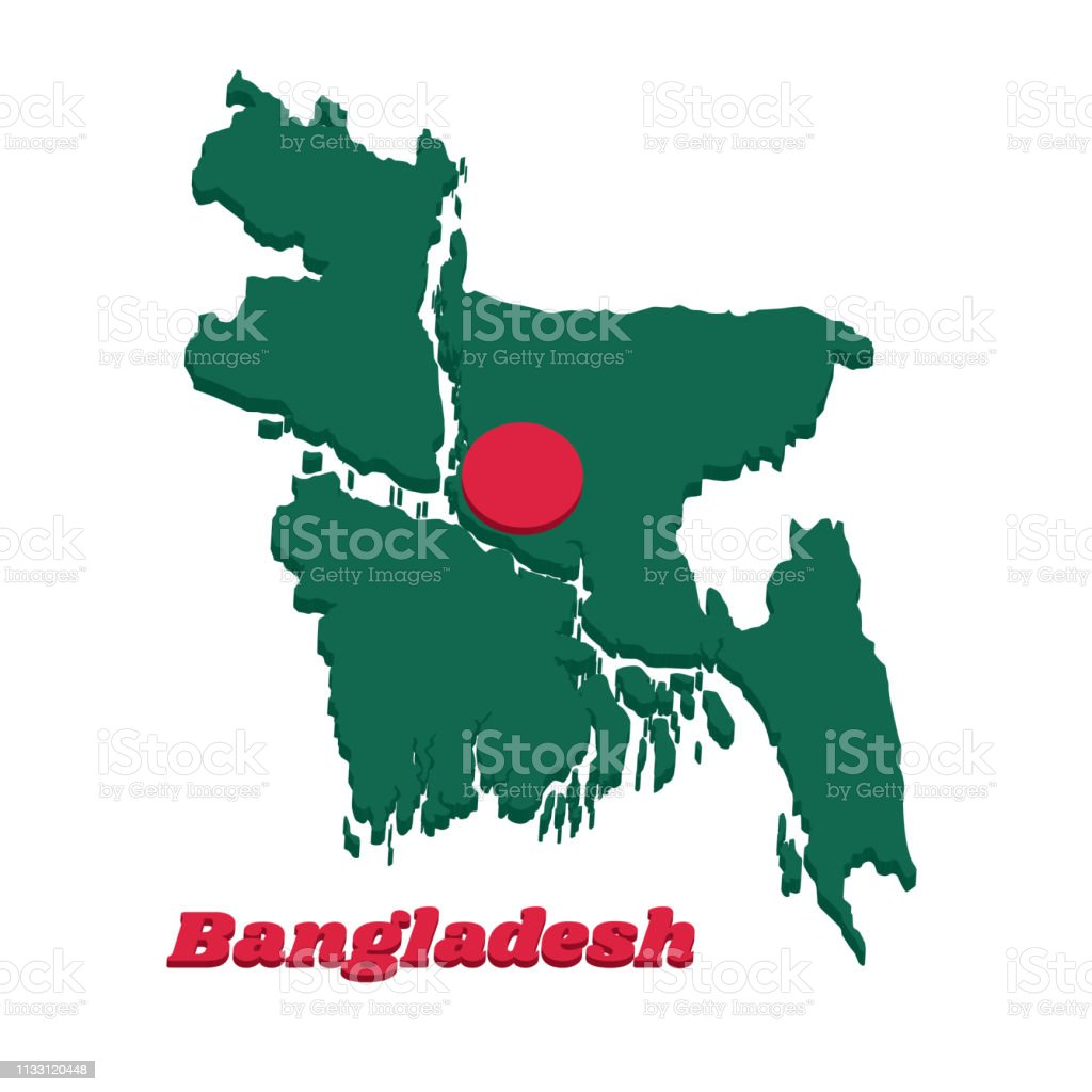 3D Map outline and flag of Bangladesh, a red disc on green field.