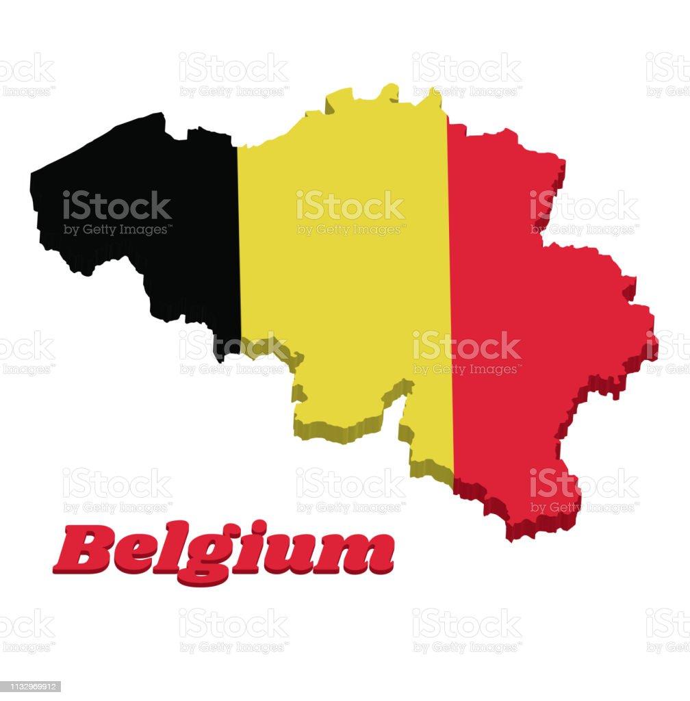Belgien Karte Umriss.3dkarte Umriss Und Flagge Von Belgien Ist Es Eine Vertikale