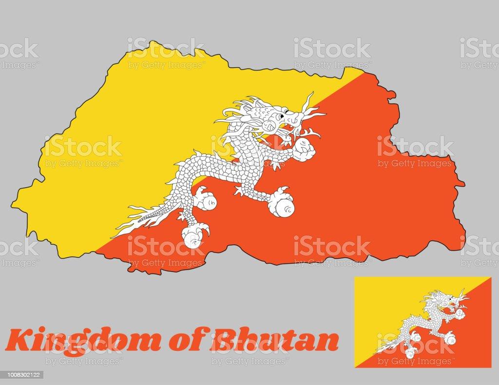 Carte Asie Bhoutan.Carte De Contour Et Le Drapeau Du Bhoutan Le Triangle Jaune