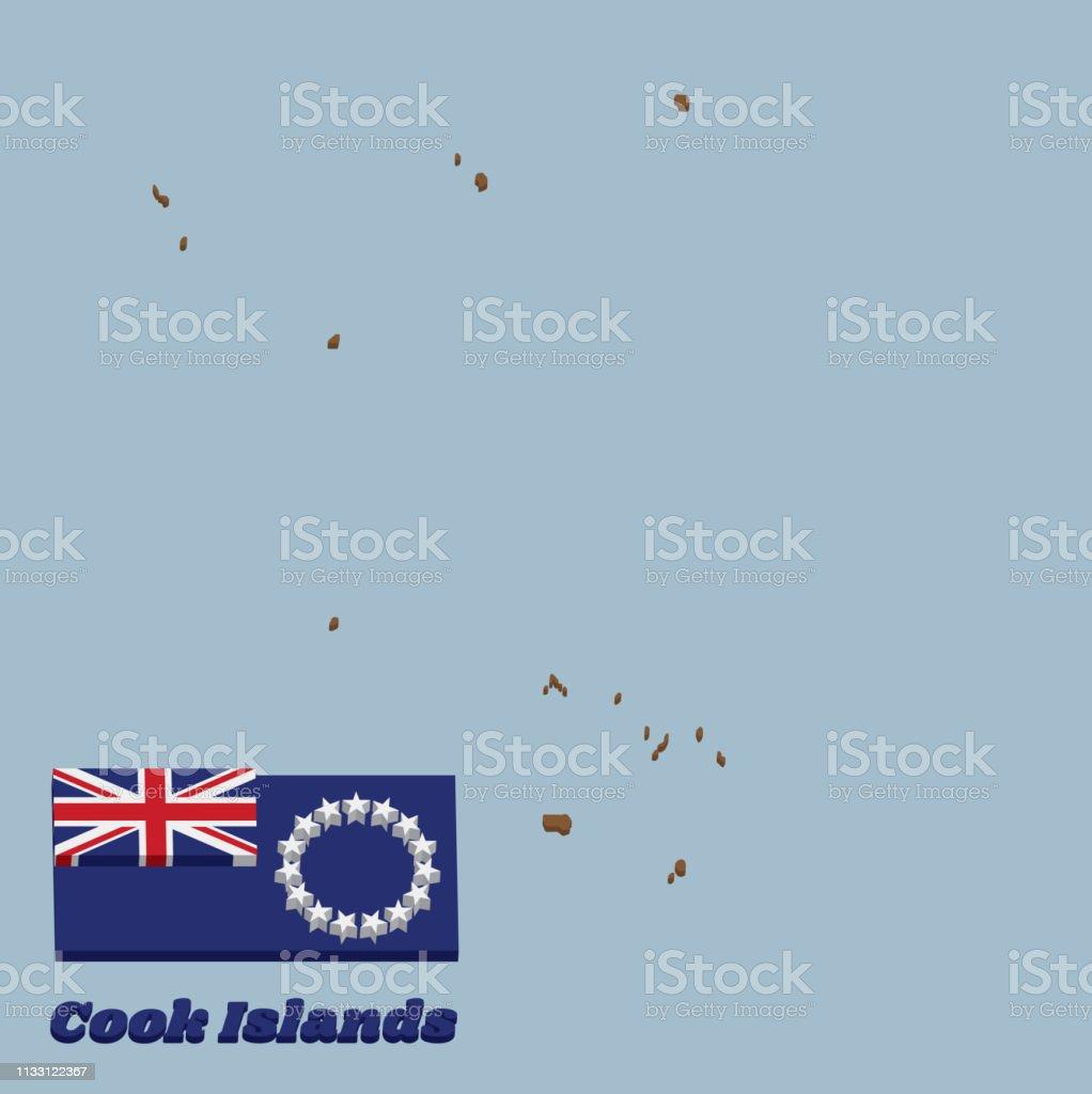 esboço do mapa 3D e bandeira de consoles de cozinheiro, Ensign azul com um anel de quinze estrelas brancas na mosca. - ilustração de arte em vetor