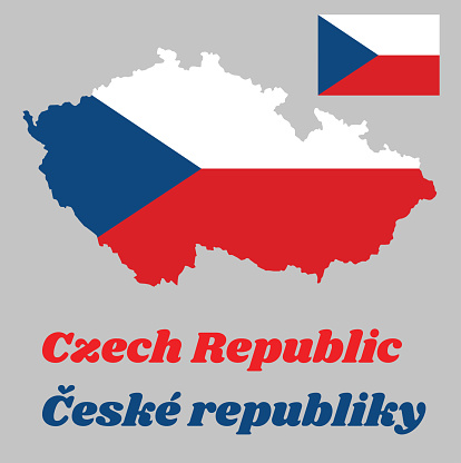 Map outline and flag of Czech Republic, two equal horizontal bands of white (top) and red with a blue isosceles triangle based on the hoist side. with name text Ceske republic.