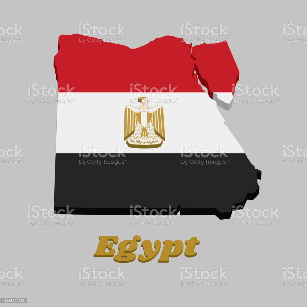 Fantastic 3D Map Outline And Flag Of Egypt Horizontally Divided Red Cjindustries Chair Design For Home Cjindustriesco