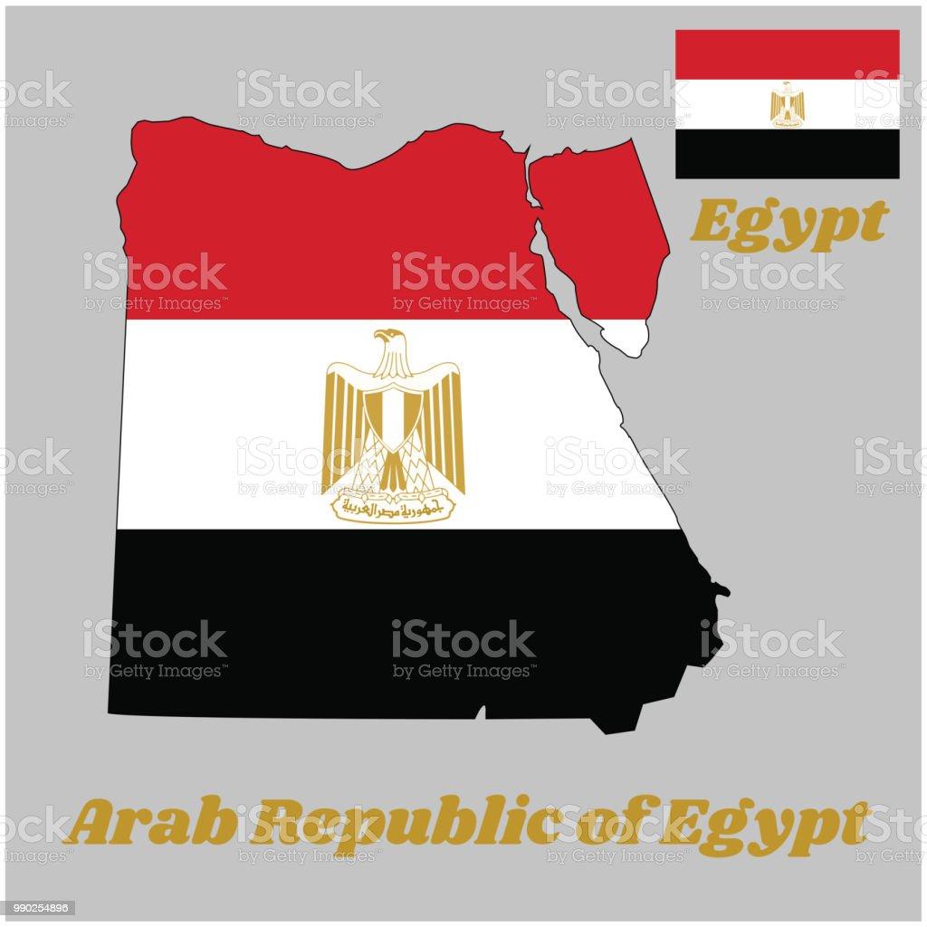 Karte Gliederung Und Flagge Von ägypten Es Gliedert Sich