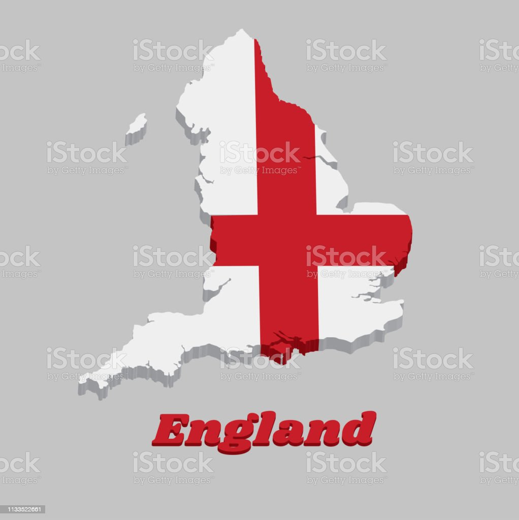 3d Map Of England.3d Map Outline And Flag Of England It Is A Red Centred Cross On A