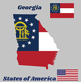 Map outline and flag of Georgia, Three stripes consisting of red, white, red. A blue canton containing a ring of 13 stars encompassing the coat of arms in gold.