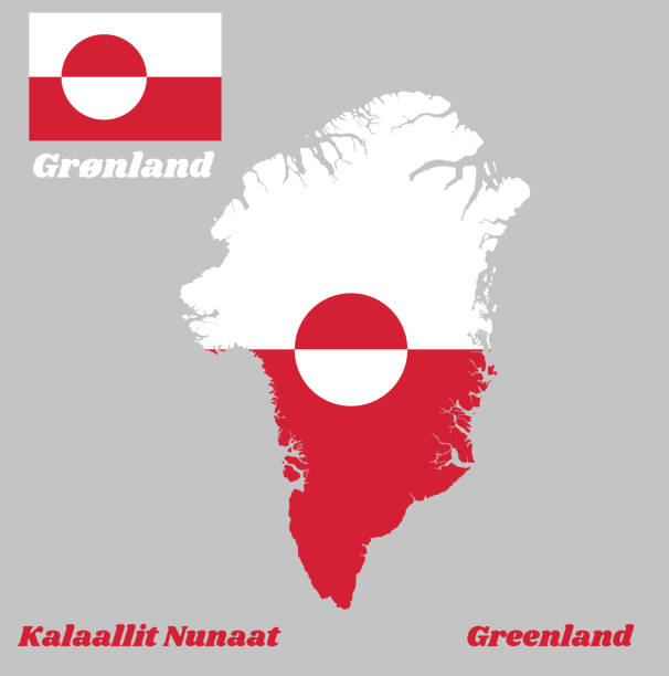 Map outline and flag of Greenland, A horizontal bicolor of white and red, with a counterchanged disk slightly off-centre towards the hoist. Map outline and flag of Greenland, A horizontal bicolor of white and red, with a counterchanged disk slightly off-centre towards the hoist, with name text Kalaallit Nunaat and Greenland. greenland stock illustrations