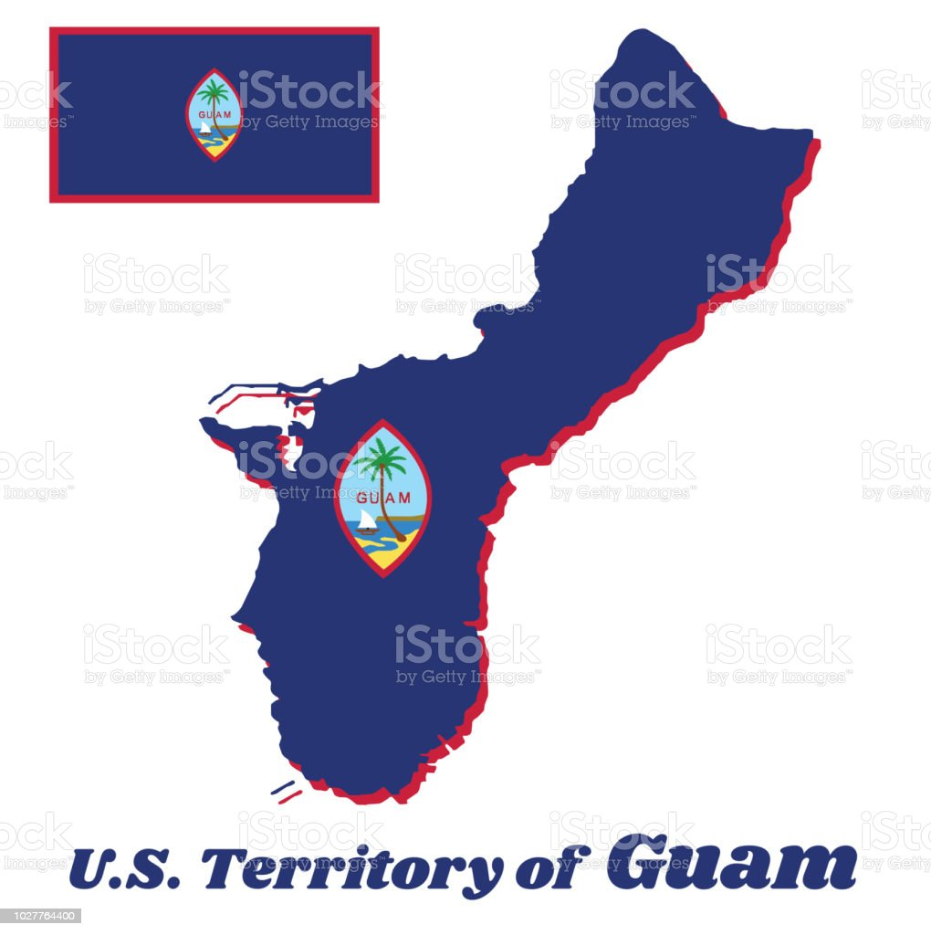 map outline and flag of guam a dark blue background with a thin red