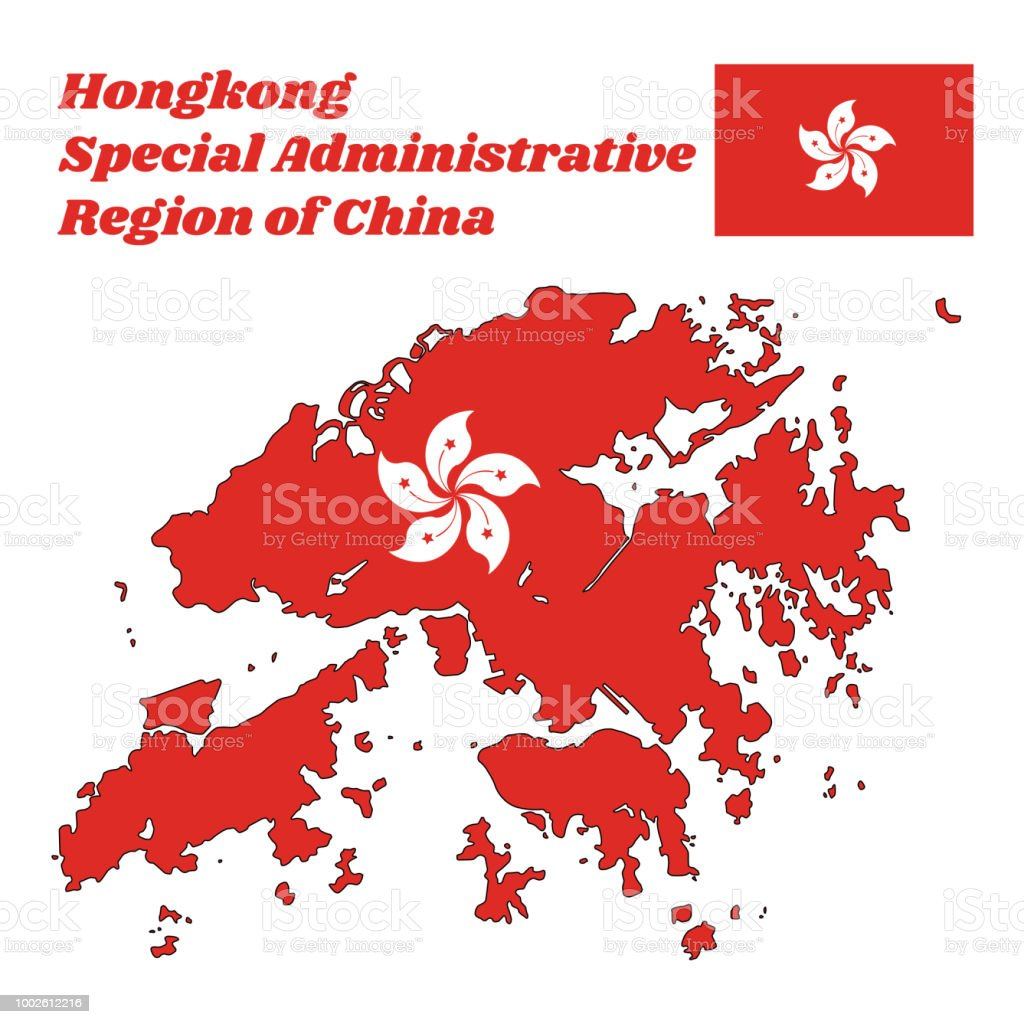 Map Outline And Flag Of Hongkong A Stylised White Fivepetal Bauhinia
