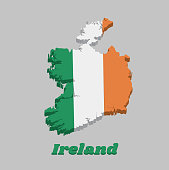 3D Map outline and flag of Ireland, a vertical tricolor of green white and orange.