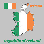 Map outline and flag of Ireland, a vertical tricolor of green, white and orange. with name text Republic of Ireland.