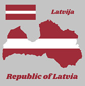 Map outline and flag of Latvia, a carmine field bisected by a narrow white stripe (one-fifth the width of the flag). with name text Republic of Latvia.