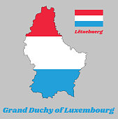 Map outline and flag of Luxembourg, it is a horizontal triband of red, white and light blue, with name text Grand duchy of Luxembourg.