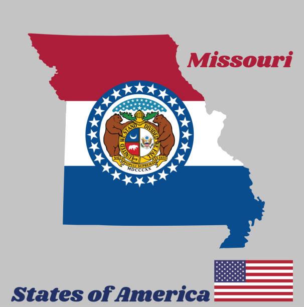 контур карты и флаг миссури. красный белый и синий цвет. печать миссури, окруженная синей полосой и звездами, штаты америки. - missouri stock illustrations