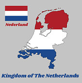 Map outline and flag of Nederland, it is a horizontal tricolor of red, white, and blue. with name text Kingdom of Netherlands.
