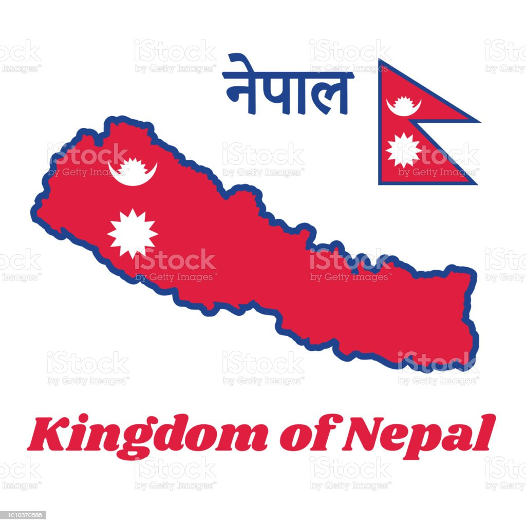 Map Outline And Flag Of Nepal Two Red Blue Triangles The Smaller ...