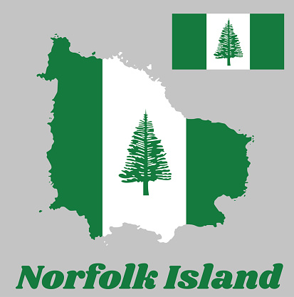 Map outline and flag of Norfolk. Norfolk Island Pine in a central white stripe between two green stripes.