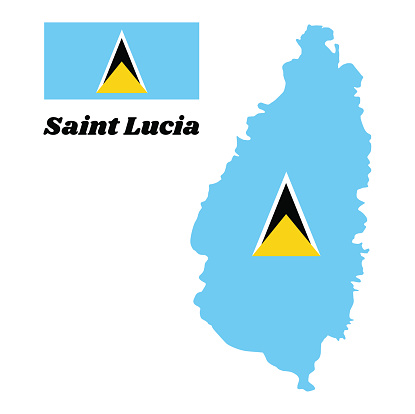 Map outline and flag of Saint Lucia. A light blue field with the small golden triangle behind the large white-edged black isosceles triangle in center.