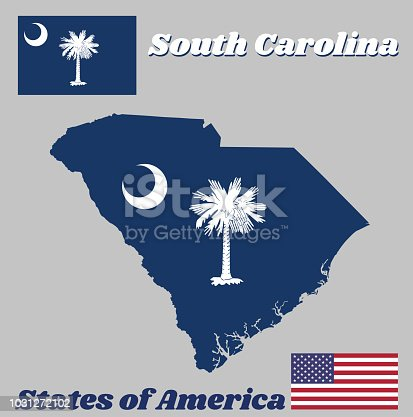 istock Map outline and flag of South Carolina, White palmetto tree on an indigo field. The canton contains a white crescent. 1031272102