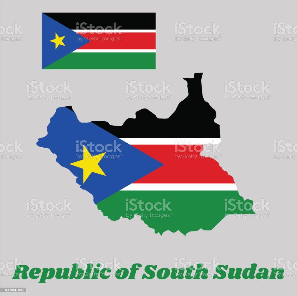 Karte Gliederung Und Flagge Des Südsudan Eine Horizontale