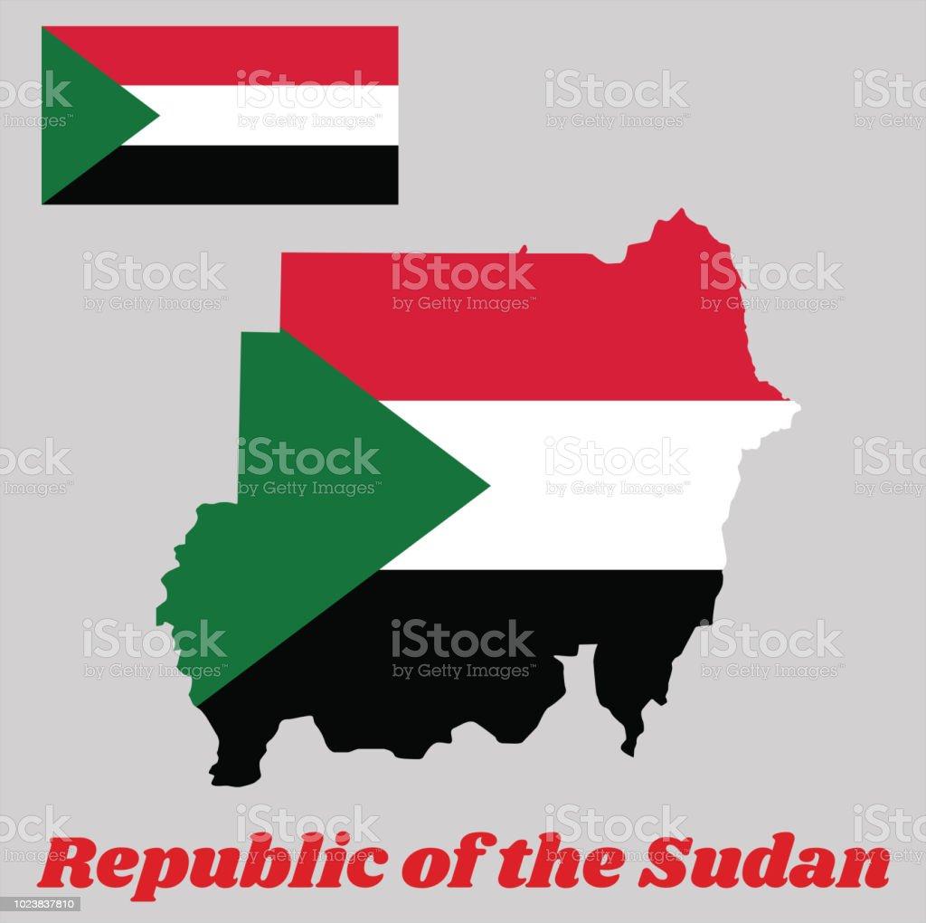 Karte Gliederung Und Flagge Des Sudan Eine Horizontale