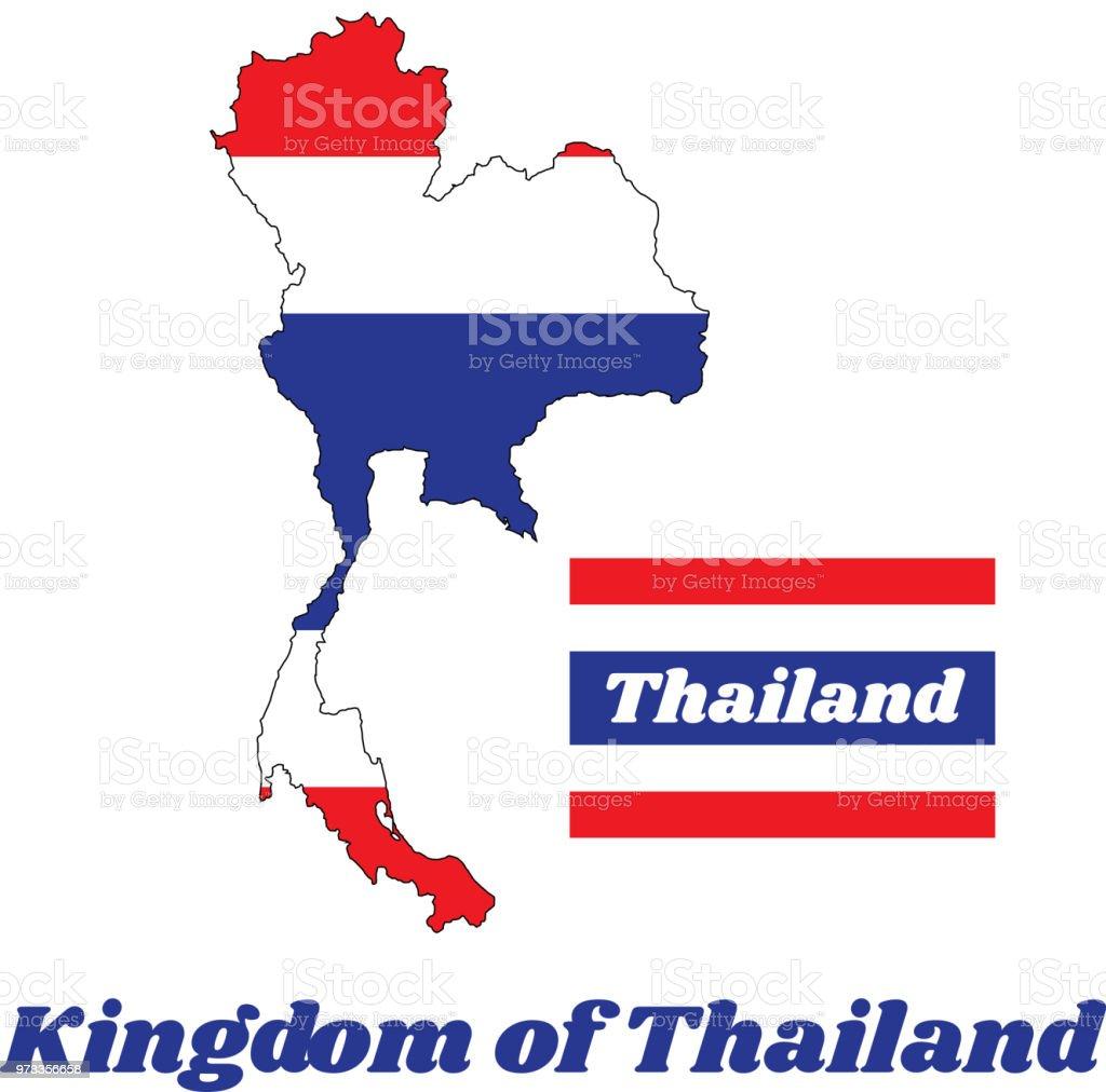 Gliederung Und Flagge Von Thai In Rotweißblau Mit Namenstext Von ...