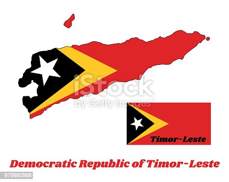 Map Outline And Flag Of Timorleste In Red Yellow And Black Color