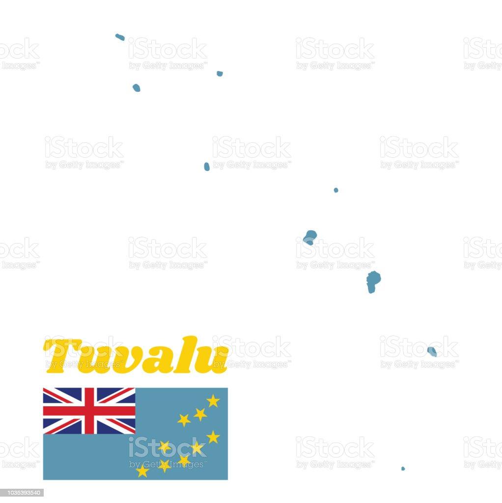 Mapa contorno e bandeira de Tuvalu, um pavilhão de luz azul com o mapa da ilha de nove estrelas amarelas sobre o exterior metade da bandeira. - ilustração de arte em vetor
