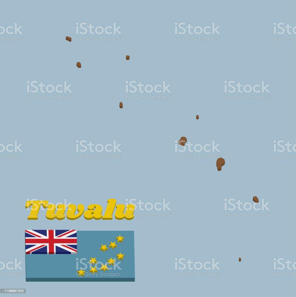 esboço do mapa 3D e bandeira de Tuvalu, um Ensign azul claro com o mapa do console de nove estrelas amarelas na metade exterior da bandeira. - ilustração de arte em vetor