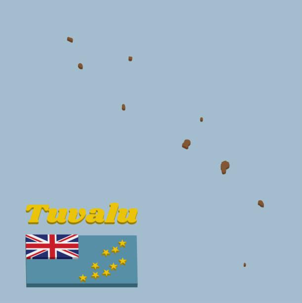 ilustrações, clipart, desenhos animados e ícones de esboço do mapa 3d e bandeira de tuvalu, um ensign azul claro com o mapa do console de nove estrelas amarelas na metade exterior da bandeira. - bandeira union jack