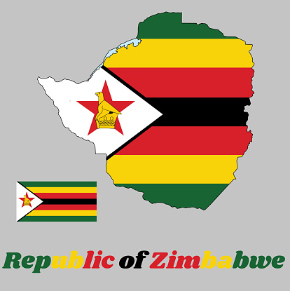 Map outline and flag of Zimbabwe,  seven horizontal stripes of green, yellow, red, black, with a black-edged white isosceles triangle bearing a bird on a red star. with name text Republic of Zimbabwe.