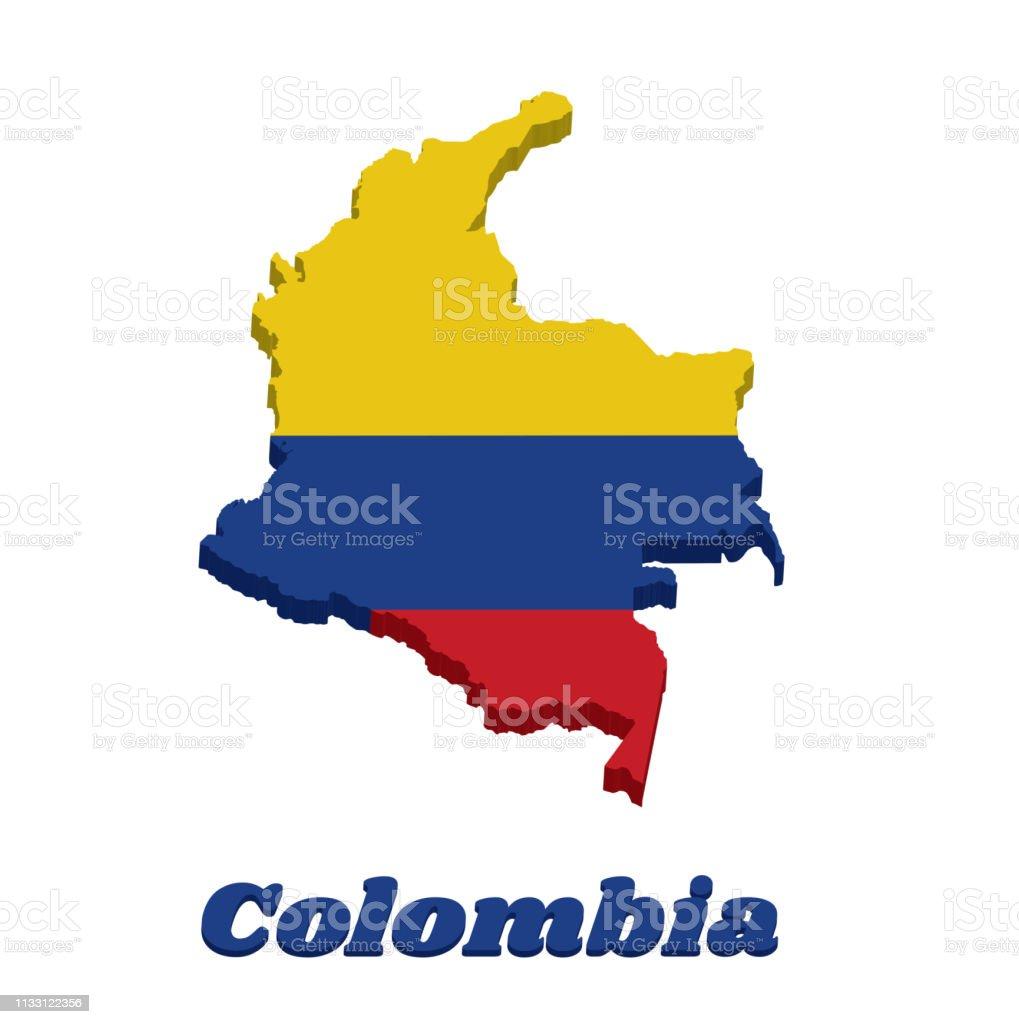Ilustración De Mapa 3d Contorno De Colombia Un Tricolor