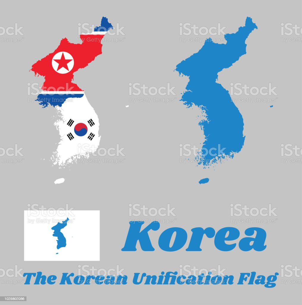 Map Outline Of North Korea South Korea And Korean Peninsula And Flag ...