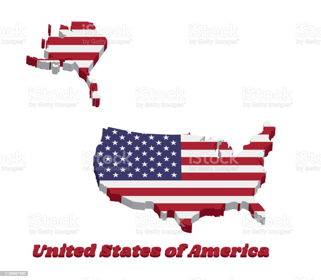 Stupendous 3D Map Outline Of Usa Horizontal Stripes Of Red And White Alphanode Cool Chair Designs And Ideas Alphanodeonline